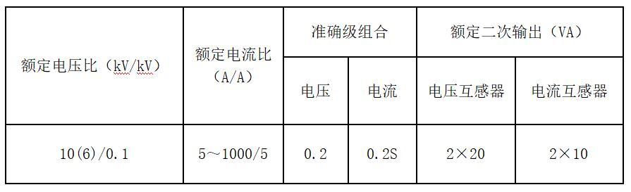 10KV干式高压计量箱技术参数